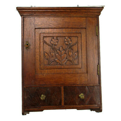 Hand Carved Oak Medicine Wall Cabinet Apothecary 2 drawers acorns Gorgeous  HTF