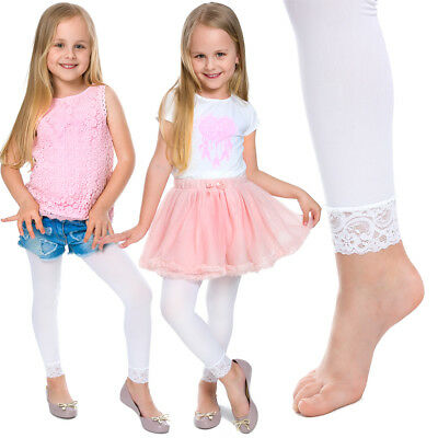 Girls Leggings with Lace Breathable Soft Full Length Kids White Age 1-13 6011