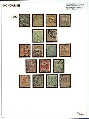 Hungary 1900/16 Turul and Joseph Perf Shades Wmks M&U (6 pages 107 stamps)