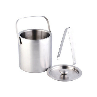 Durable Double Walled Stainless Steel Insulated Ice Bucket With Tongs and Lid