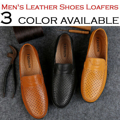 Mens Slip On Leather Casual Boat Soft Loafers Moccasin Comfy Flats Work Shoes