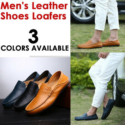 Fashion Men's Driving Moccasins Slip On Loafers Sneakers Leather Casual Shoes