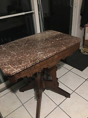 Antique  Eastlake Walnut Victorian Marble Top Table
