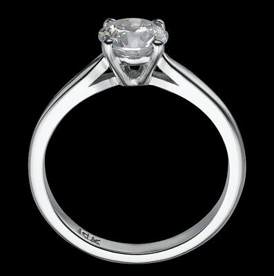 2/3 Ct Si/d Round Cut Enhanced Diamond Solitaire Engagement Ring 14K White Gold