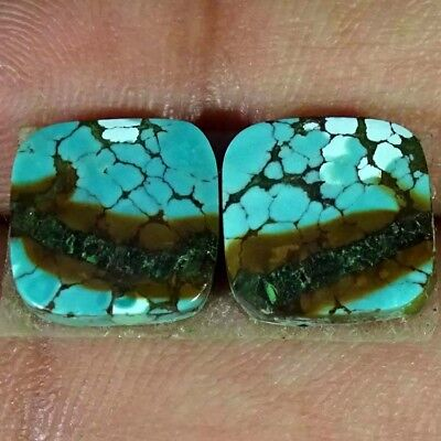 7.50Cts AA NATURAL GENUINE TIBET TURQUISE CUSHION SHAPE PAIR LOOSE GEMSTONE