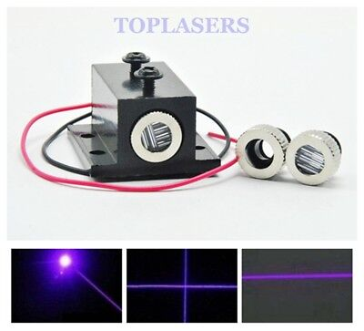 12x35mm 50mW 405nm Dot/Line/Cross Violet Blue Laser Diode Module w 12mm Heatsink