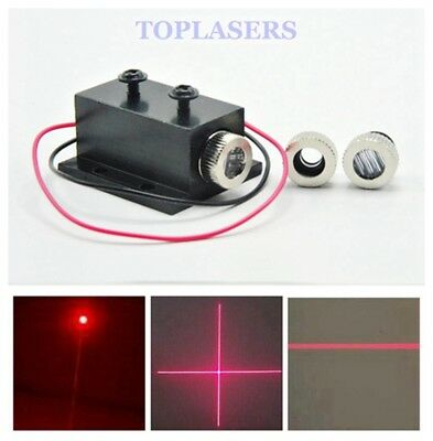 12mm Focusable 30mW 650nm Dot/Line/Cross Red Laser Diode Module w/Heatsink 3V-5V