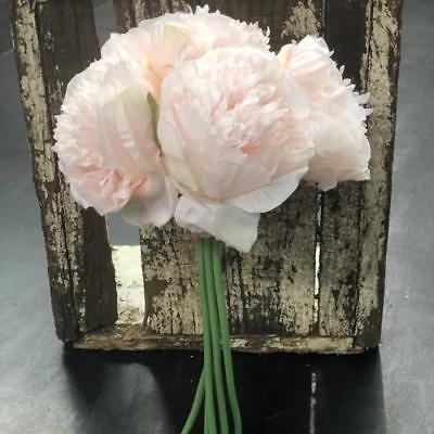 Artificial Silk Large Light Pink Peony Flower Bouquet Bunch - Style 2