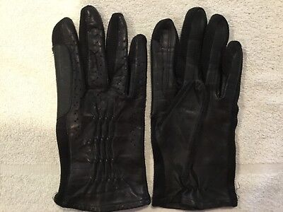 Vintage Ladies Black Leather Gloves Small