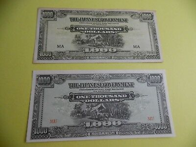Malaya Military Currency (2)1,000 Dollar Notes Mid A&b Variety Red & Black Block