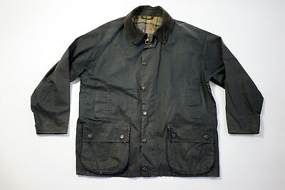 Barbour Light Bedale Jacket Navy Blue Plaid lining Waxed Jacket Size Large L