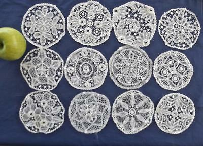 """12 Antique Brussels Princess Tape Lace 5"""" Round Coasters Doilies Variety Pattern"""