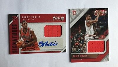 BOBBY Portis 2015/16 Panini Threads rc Jersey Auto bulls Karte nba Basketball