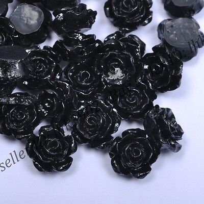 20 Pcs Gorgeous Black Rose Flower Coral Spacer Beads 10MM