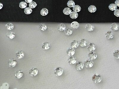 150pcs x 6mm Crystal Clear Acrylic Gems Flatback Round Strass Sew On Rhinestones