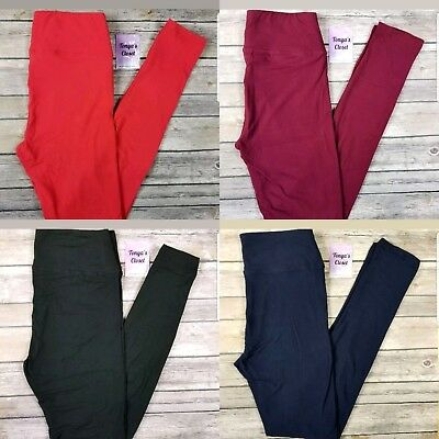 Solid YOGA Waist Leggings Buttery Soft Black Burgundy Red Navy Blue ONE SIZE OS