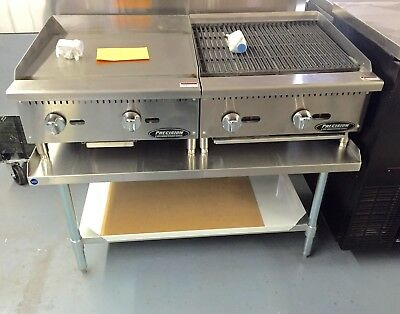 "NEW 24"" FLAT GRIDDLE GRILL 24"" Charbroiler And Table PACKAGE deal RESTAURANT"