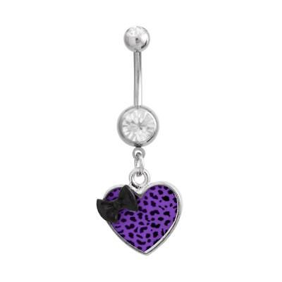 Heart Leopard Skin Belly Ring Bow Pink Red Blue Green White Dangle Navel CZ