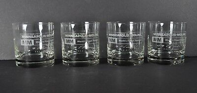 Vintage Mm Minneapolis Moline Set Of 4 Drinking Glasses Tractor Old Etched