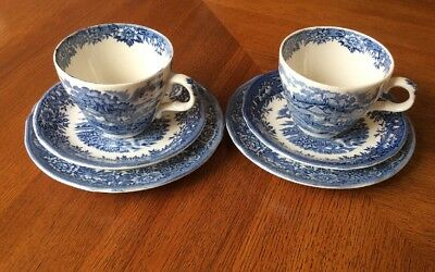 2 Trios Salem China English Village Scene Tea Cup Saucer Tea Plate
