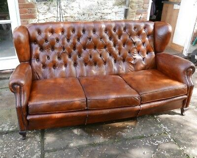 Antique Leather SOFA, Early 20th Century, 3/4 seater, button-upholstered