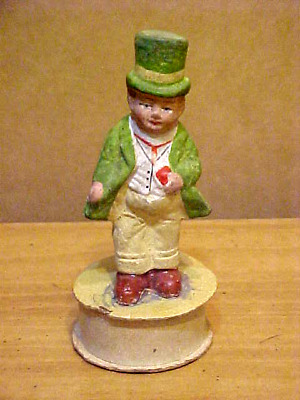 Vintage St. Patrick's Day Candy Container Germany Man Green Suit & Top Hat Chalk