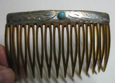 Navajo Sterling Silver Hair Comb W/ Turquoise Native American Crafted D. Yazzie