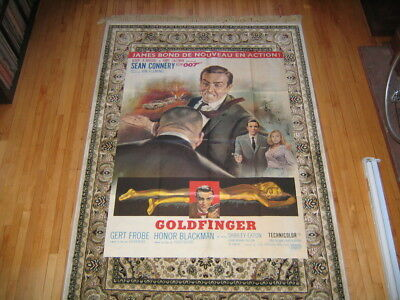 """GOLDFINGER FRENCH GRANDE re-release 46""""X62"""" MOVIE POSTER JAMES BOND Sean Connery"""