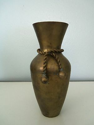 "Decorative Collectible Solid Brass Vase Urn 6-1/4"" Tall Rope Design"