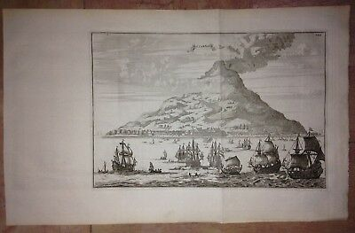 INDONESIA TERNATE VULCANIC by WOUTER SCHOUTEN 1676 NICE ANTIQUE ENGRAVED VIEW