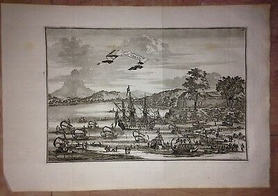 INDONESIA SERAM AMBON ISLAND by WOUTER SCHOUTEN 1676 NICE ANTIQUE ENGRAVED VIEW