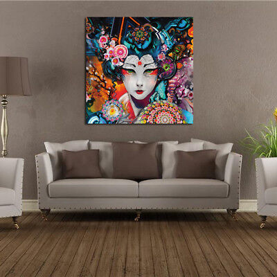 Abstract Japanese Geisha Print Oil Painting Poster Home Wall Art Decor Unframed