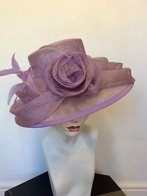 Jacques Vert Lilac Feather & Flower Trim Formal Hat