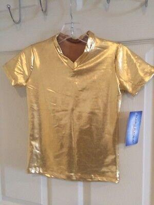 Gold Lamme Dance V-neck T-Shirt - NEW - child intermediate 7/8