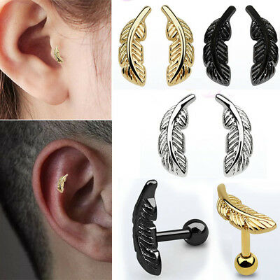 1-2PC 16G-18GHelix Tragus Ear Piercing Steel Plated Feather Stud Logo Jewelry US