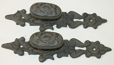 Heavy Cast Iron door Pull handle knob antique finish ornate victorian rustic