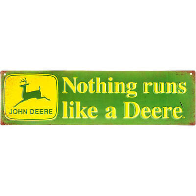 John Deere Metal Sign Advertising Nothing Runs Like a Deere Farm Tractor Barn