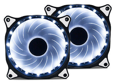 2 Pack 120mm WHITE LED Computer PC Case Cooling Fan Quiet Sleeve Bearing Vetroo