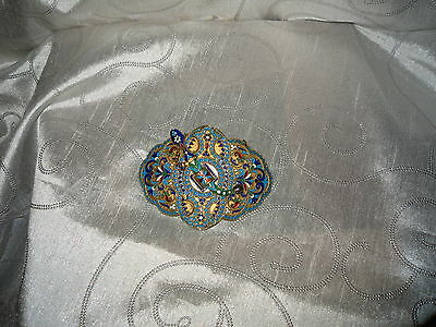 Antique Russian Silver Gilt and Enamel Buckle with Brooch  Marked CK/84 Standard