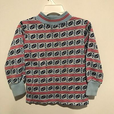 Vintage Boys Health-tex Football Pattern Blue Sweater Size 4T