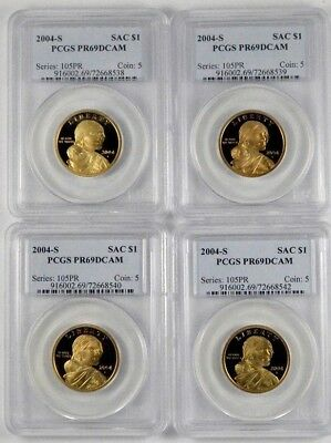 2004-S Sacagawea $1 Dollar PCGS PR69 DCAM Proof Deep Cameo 4-Coin Set