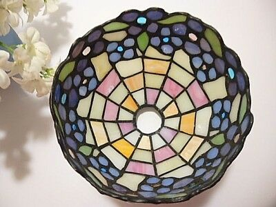 """GORGEOUS Small 6"""" TIFFANY STYLE Stained Glass PINK~BLUE FLOWER Lamp Shade BEADED"""