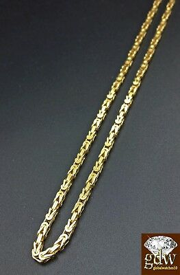 Real 14k Solid Yellow Gold Byzantine Chain 28 Inch Lobster Lock for Men & Women