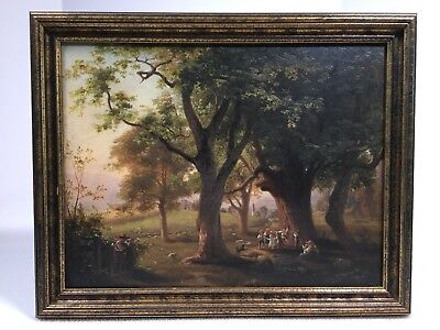 "Antique Oil Painting On Board 12""x 9"" Unsigned Children Dancing With Large Trees"