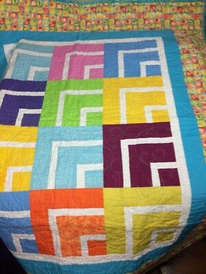 Handmade baby quilt lap blanket colorful flowers geometric pattern baby gift