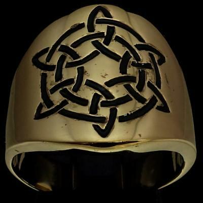 Bronze Mens Costume Ring Celtic Six Point Star Eternity Knot Black Any Size