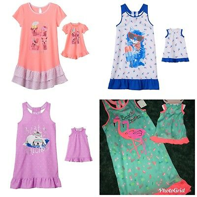"""NWT Girls 7/8 SO 18"""" Doll & Matching Nightgown Pajamas Dollie Me American Girl"""