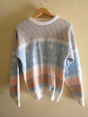 Vinatge 80s pastel knit jumper abstract retro kitsch ugly sweater