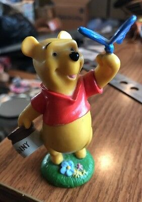 DISNEY STORE Winnie the Pooh Figurine With Honey Hunny Pot & Butterfly