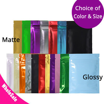 Multi-Size Glossy & Matte Both Sided Colored Mylar Foil Zip lock Bag SM01